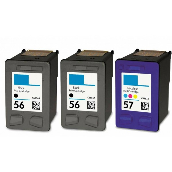 2x hp 56 black 1x hp 57 colour ink cartridges. Black Bedroom Furniture Sets. Home Design Ideas